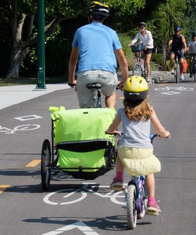 Family cycling safely